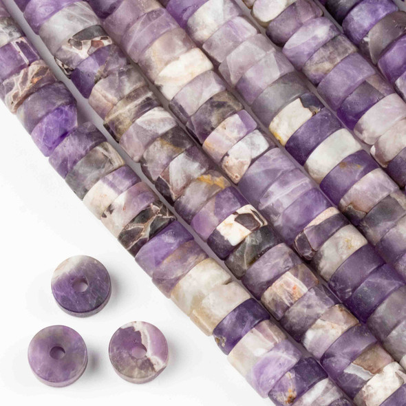 Matte Large Hole Amethyst 3-5x10mm Heishi with a 2.5mm Drilled Hole - approx. 8 inch strand