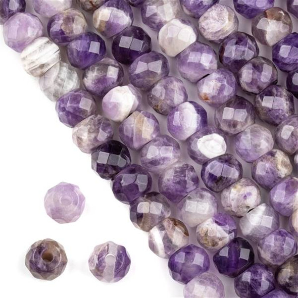 Faceted Large Hole Amethyst 8x10mm Rondelle with a 2.5mm Drilled Hole - approx. 8 inch strand