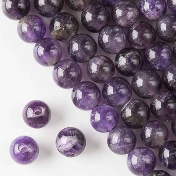 Large Hole Amethyst 10mm Round with a 2.5mm Drilled Hole - approx. 8 inch strand