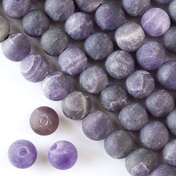 Matte Large Hole Amethyst 10mm Round with a 2.5mm Drilled Hole - approx. 8 inch strand