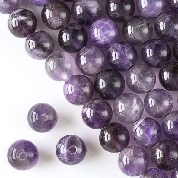 Large Hole Amethyst 12mm Round with 2.5mm Drilled Hole - approx. 8 inch strand