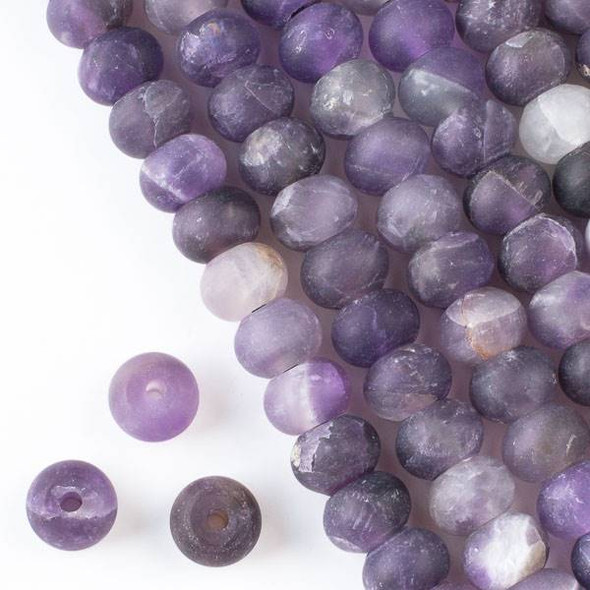 Matte Large Hole Amethyst 8x12mm Rondelle Beads with 2.5mm Drilled Hole - approx. 8 inch strand