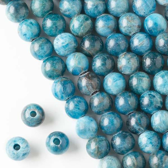Large Hole Apatite 10mm Round Beads with a 2.5mm Drilled Hole - approx. 8 inch strand