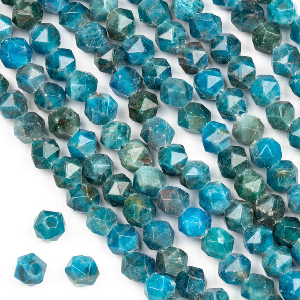 Large Hole Apatite approximately 8mm Simple Faceted Star Cut with 2mm Drilled Hole - approx. 8 inch strand
