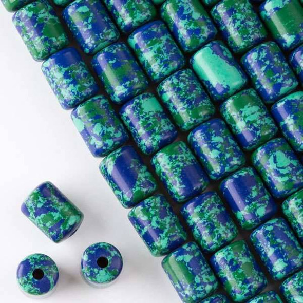 Large Hole Synthetic Azurite 10x14mm Barrel with 2.5mm Drilled Hole - approx. 8 inch strand