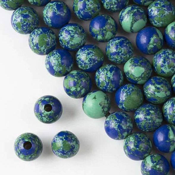 Large Hole Synthetic Azurite 10mm Round with a 2.5mm Drilled Hole - approx. 8 inch strand