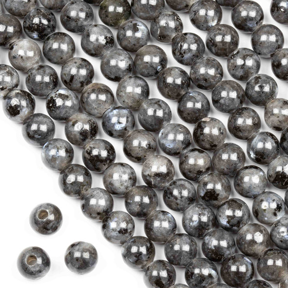 Large Hole Black Labradorite/Larvikite 8mm Round Beads with a 2.5mm Drilled Hole - approx. 8 inch strand