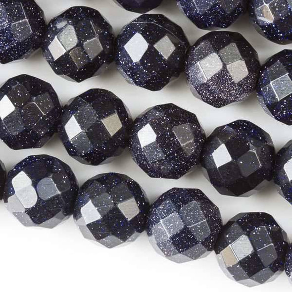 Faceted Large Hole Blue Goldstone 12mm Round with a 2.5mm Drilled Hole - approx. 8 inch strand