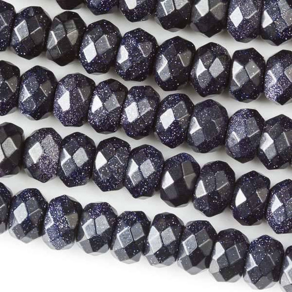Faceted Large Hole Blue Goldstone 5x8mm Rondelle with a 2.5mm Drilled Hole - approx. 8 inch strand