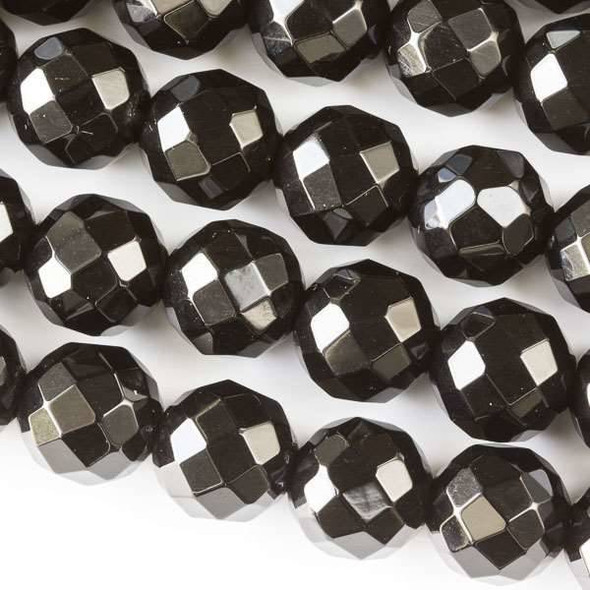Faceted Large Hole Black Obsidian 12mm Round with a 2.5mm Drilled Hole - approx. 8 inch strand