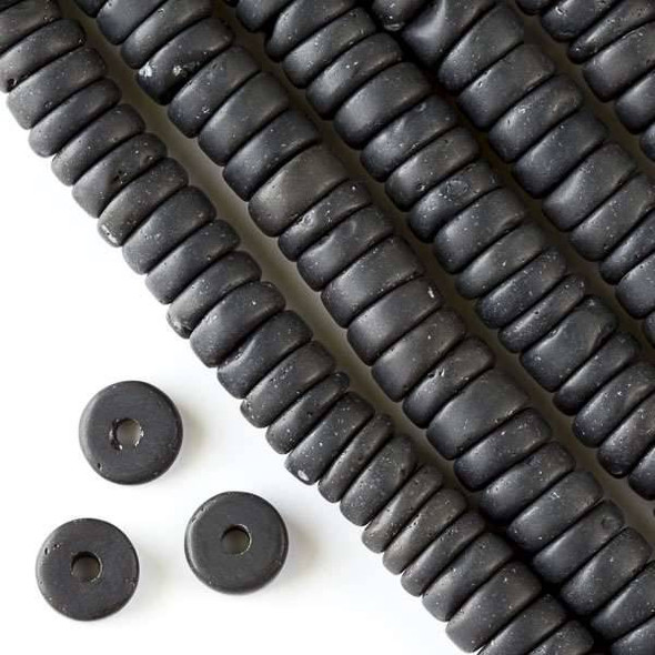 Matte Large Hole Black Obsidian 3-5x10mm Heishi with a 2.5mm Drilled Hole - approx. 8 inch strand