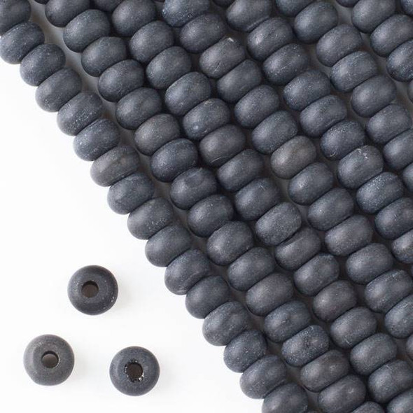 Matte Large Hole Black Obsidian 5x8mm Rondelle Beads with 2.5mm Drilled Hole - approx. 8 inch strand