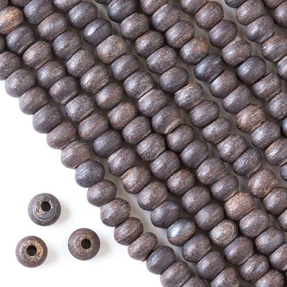 Matte Large Hole Bronzite 5x8mm Rondelle with a 2.5mm Drilled Hole - approx. 8 inch strand