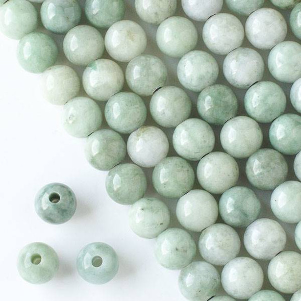 Large Hole Burma Jade 10mm Round Beads with a 2.5mm Drilled Hole - approx. 8 inch strand