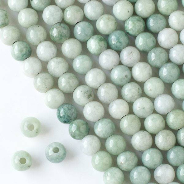 Large Hole Burma Jade 8mm Round Beads with a 2.5mm Drilled Hole - approx. 8 inch strand