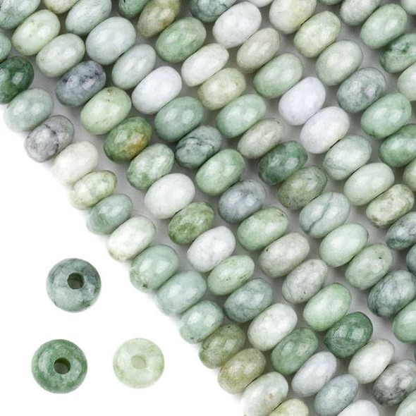 Large Hole Burma Jade 5x8mm Rondelle Beads with 2.5mm Drilled Hole - approx. 8 inch strand