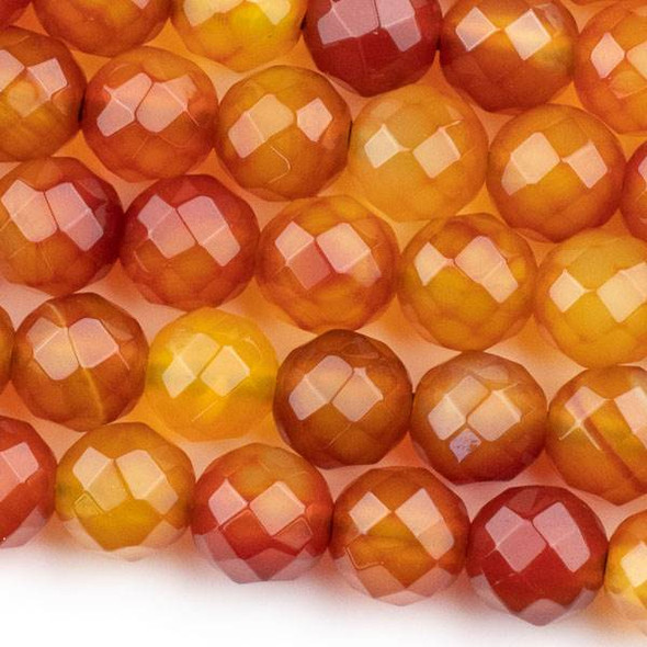 Faceted Large Hole Multicolor Carnelian/Red Agate 12mm Round with a 2.5mm Drilled Hole - approx. 8 inch strand