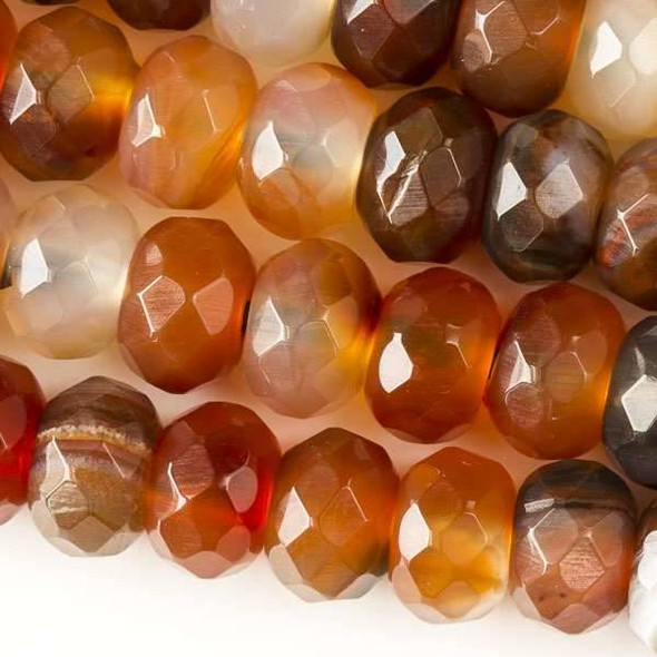 Faceted Large Hole Multicolor Carnelian 8x12mm Rondelle with a 2.5mm Drilled Hole - approx. 8 inch strand