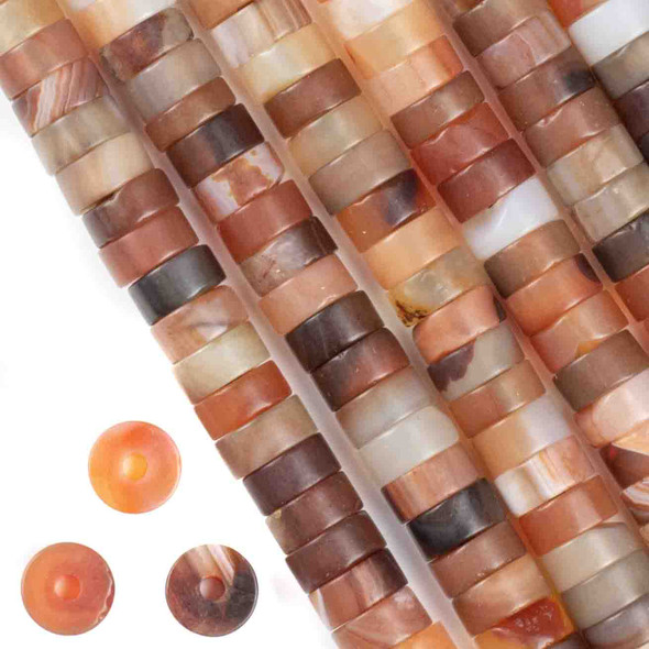 Matte Large Hole Multicolor Carnelian 3-5x10mm Heishi with a 2.5mm Drilled Hole - approx. 8 inch strand