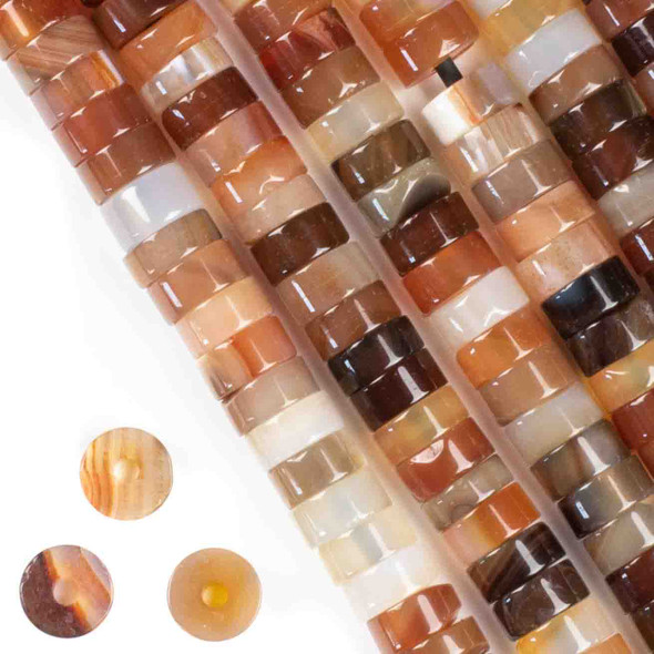 Large Hole Multicolor Carnelian 3-5x10mm Heishi with a 2.5mm Drilled Hole - approx. 8 inch strand