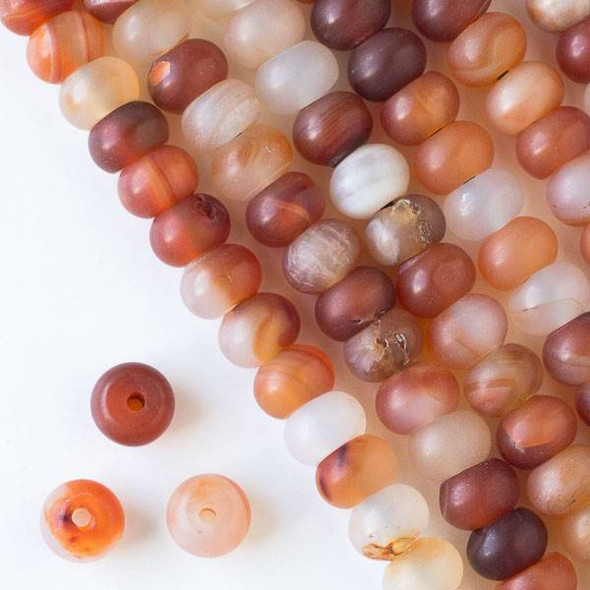 Matte Large Hole Carnelian 8x12mm Rondelle Beads with 2.5mm Drilled Hole - approx. 8 inch strand