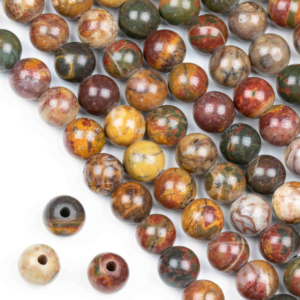 Large Hole Red Cherry Creek Jasper 10mm Round Beads with a 2.5mm Drilled Hole - approx. 8 inch strand