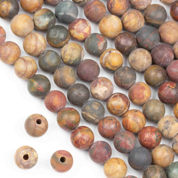 Matte Large Hole Red Cherry Creek Jasper 10mm Round Beads with a 2.5mm Drilled Hole - approx. 8 inch strand