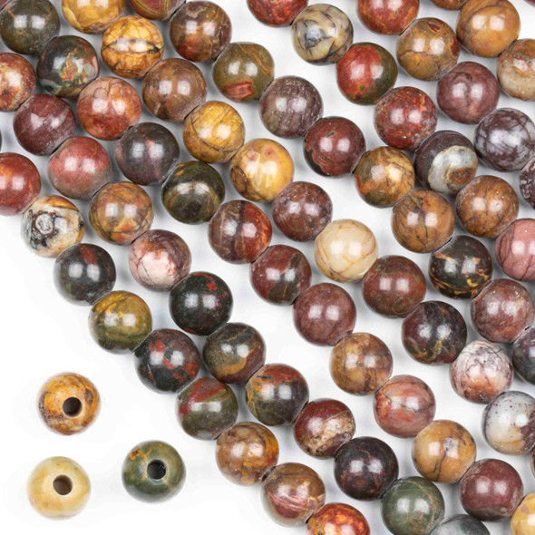 Large Hole Cherry Creek Jasper 8mm Round Beads with a 2.5mm Drilled Hole - approx. 8 inch strand