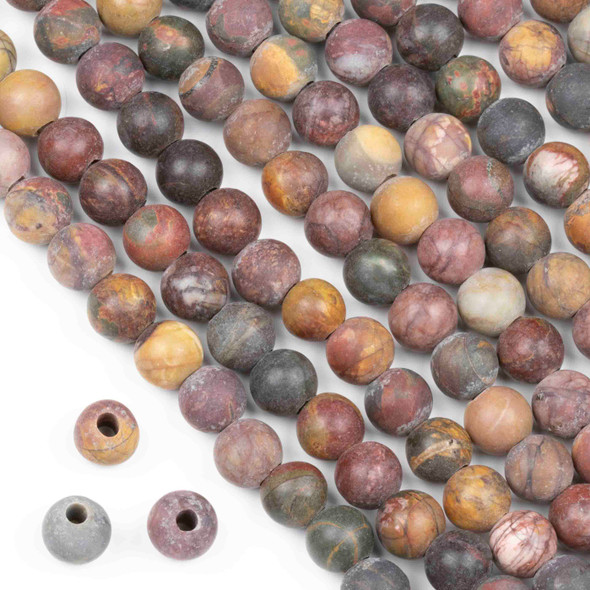 Matte Large Hole Red Cherry Creek Jasper 8mm Round Beads with a 2.5mm Drilled Hole - approx. 8 inch strand