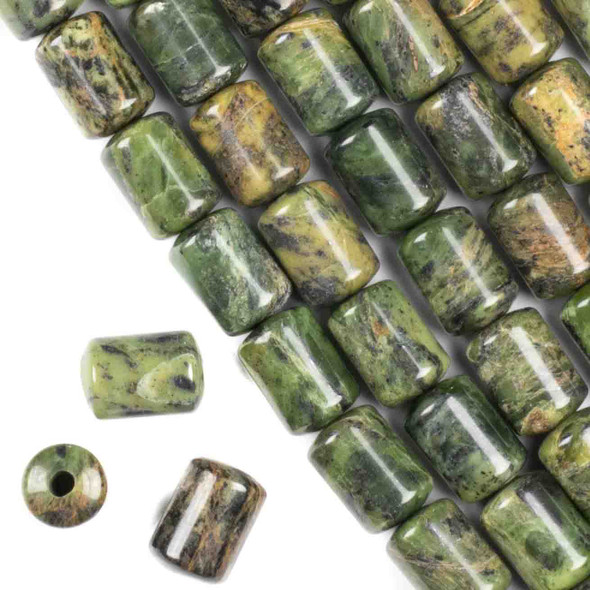 Large Hole Chinese Jade 10x14mm Barrel with a 2.5mm Drilled Hole - approx. 8 inch strand