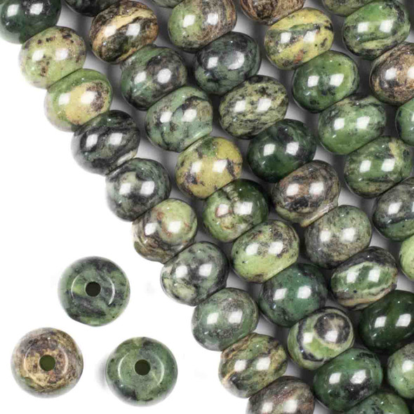 Large Hole Chinese Jade 8x12mm Rondelle with a 2.5mm Drilled Hole - approx. 8 inch strand