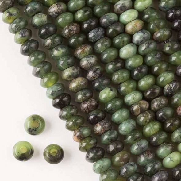 Large Hole Chinese Jade 5x8mm Rondelle with a 2.5mm Drilled Hole - approx. 8 inch strand