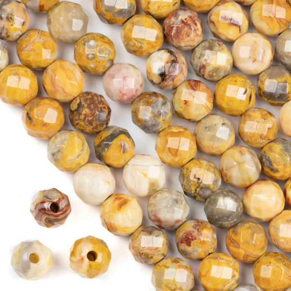 Faceted Large Hole Crazy Lace Agate 10mm Round with a 2.5mm Drilled Hole - approx. 8 inch strand