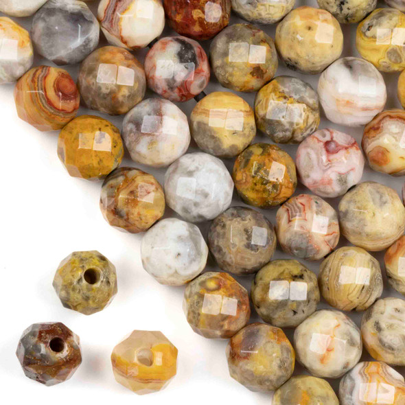 Faceted Large Hole Crazy Lace Agate 12mm Round with a 2.5mm Drilled Hole - approx. 8 inch strand