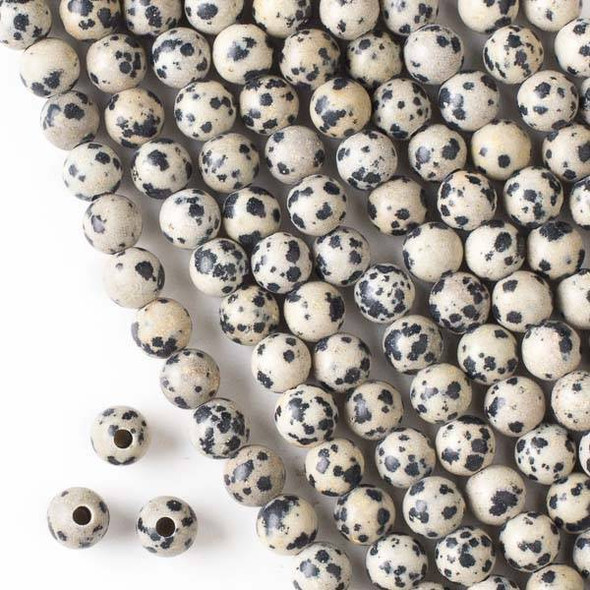 Large Hole Dalmatian Jasper 8mm Round Beads with a 2.5mm Drilled Hole - approx. 8 inch strand