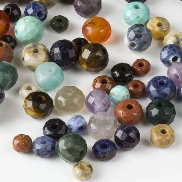 100 Mixed Faceted Large Hole Gemstone Beads in Assorted Shapes and Sizes