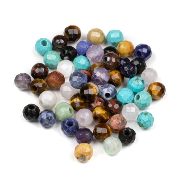 50 Loose Faceted 8mm Round Large Hole Gemstone Beads