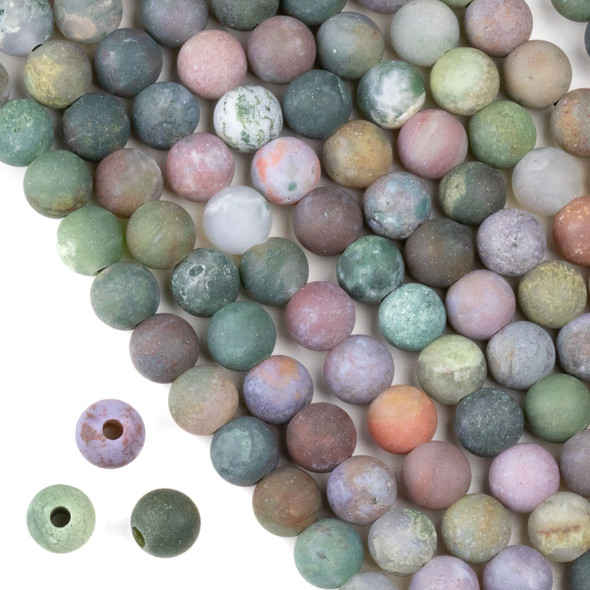 Matte Large Hole Fancy Jasper 8mm Round Beads with a 2.5mm Drilled Hole - approx. 8 inch strand