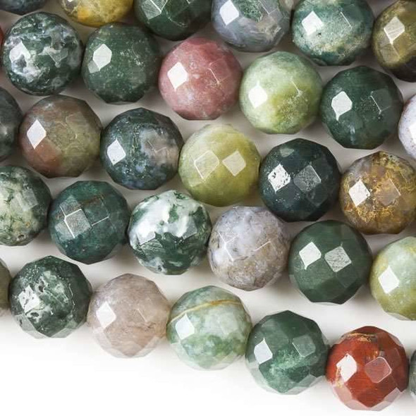 Faceted Large Hole Fancy Jasper 10mm Round with a 2.5mm Drilled Hole - approx. 8 inch strand