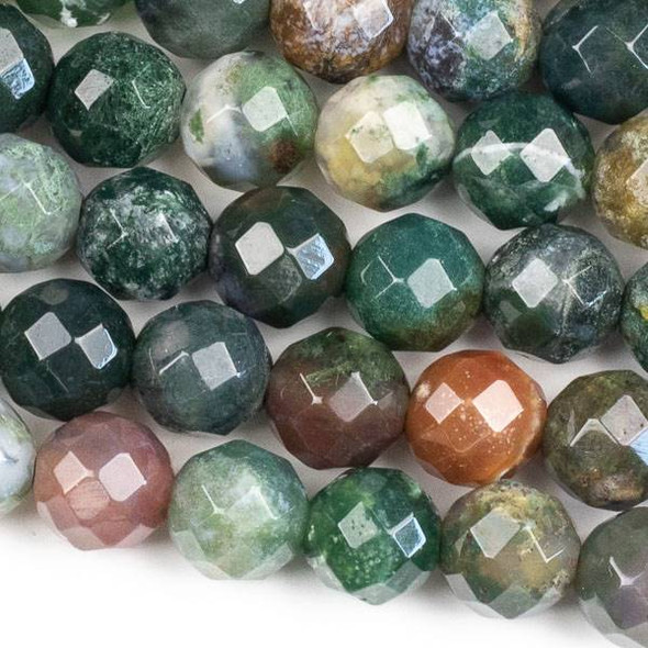 Faceted Large Hole Fancy Jasper 12mm Round with a 2.5mm Drilled Hole - approx. 8 inch strand