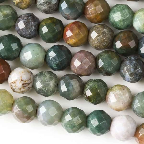 Faceted Large Hole Fancy Jasper 8mm Round with a 2.5mm Drilled Hole - approx. 8 inch strand