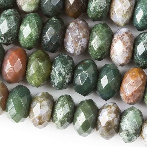 Faceted Large Hole Fancy Jasper 6x10mm Rondelle with a 2.5mm Drilled Hole - approx. 8 inch strand
