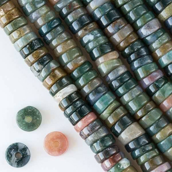 Large Hole Fancy Jasper 3-5x10mm Heishi with 2.5mm Drilled Hole - approx. 8 inch strand