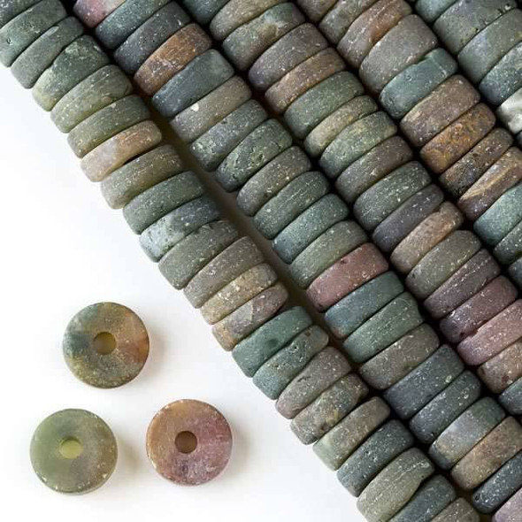 Matte Large Hole Fancy Jasper 3-5x10mm Heishi with a 2.5mm Drilled Hole - approx. 8 inch strand