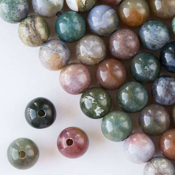 Large Hole Fancy Jasper 12mm Round with 2.5mm Drilled Hole - approx. 8 inch strand