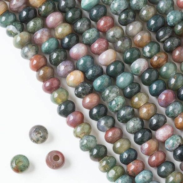 Large Hole Fancy Jasper 5x8mm Rondelle with 2.5mm Drilled Hole - approx. 8 inch strand