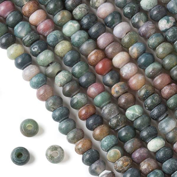 Matte Large Hole Fancy Jasper 5x8mm Rondelle Beads with 2.5mm Drilled Hole - approx. 8 inch strand