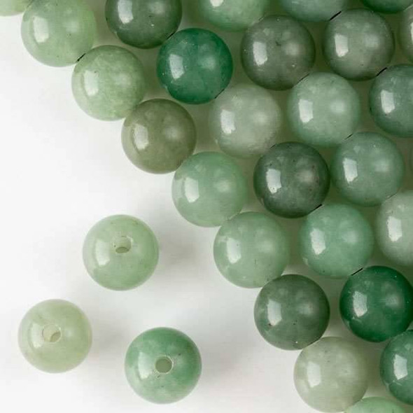 Large Hole Green Aventurine 12mm Round with 2.5mm Drilled Hole - approx. 8 inch strand