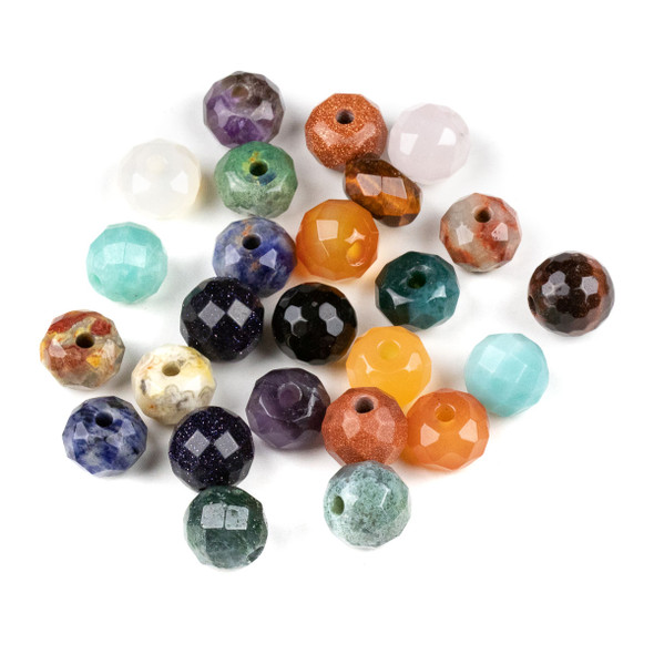 25 Mixed Faceted Large Hole 12mm Gemstone Round and Rondelle Beads