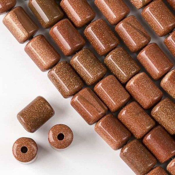 Large Hole Goldstone 10x14mm Barrel with 2.5mm Drilled Hole - approx. 8 inch strand